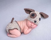 Baby Crochet Puppy Dog Hat & Diaper Cover Set Halloween Costume - Treasured Little Creations