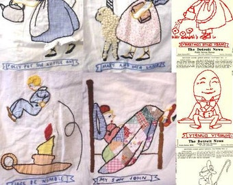 1940's newspaper Detroit News Mother Goose quilt pattern-redwork