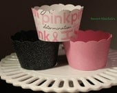 Pink and White breast cancer ribbon cupcake wrappers