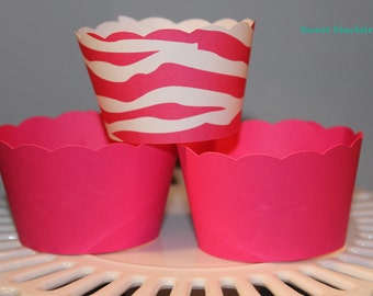 Hot Pink and White Zebra Cupcake wrappers