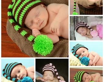 Custom Stocking Hat Newborn Photo Prop Long Tail Elf Cap Pom Pom
