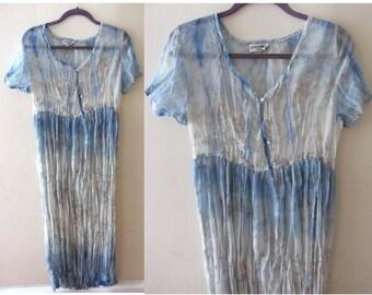 VTG 90s Grunge Revival Watercolor Crinkle Chiffon Floral Tie-Dye Maxi Full Length Hippie Sheer Dress S/M/L