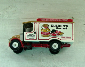 Vintage Corgi Truck, Gulden's Mustard, Die Cast with Plastic, Child's Toy, Car Collector, Made in England, Advertising Collectible, Toy