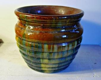 Antique, Drip Glaze Pottery, Multi Color Planter, , Earthy Decor, Ceramic Planter, Farmhouse Decor, Collectible Pottery, Circa 1910-1940