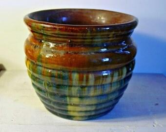 Antique Drip Glaze, Pottery Planter, Brown, Green, Yellows and Blues, Earthy Decor, Ceramic Planter, Collectible Pottery, Circa 1910-1940