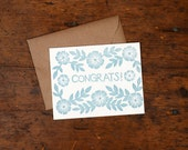 Single Hand Block Printed Congratulations Card