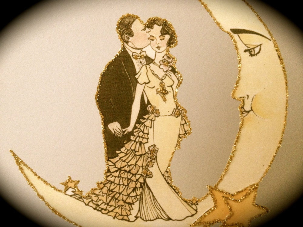 Art Deco Moon Cake Topper : Art Deco Wedding Cake Topper Moon Outlined by ...