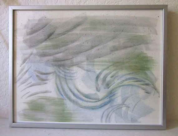 Ticonderoga. Storm drawing, abstract Giclée print, storm print, linear art, pencil drawing, weather, pale green and blue, blue, green, gray
