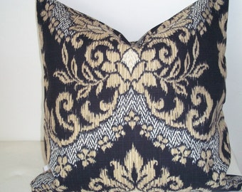 Beautiful,Waverly, Ikat, Black and Gold Throw Pillow Cover 14""