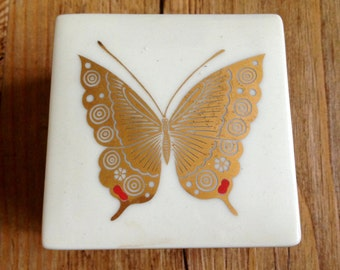 Vintage Takahashi San Francisco Gold Butterfly Trinket Box Made in Japan - Japanese Porcelain Box