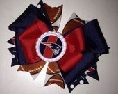 Stacked Boutique Bottle Cap Football Bow - New England Patriots