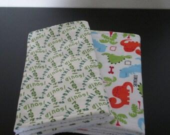 Baby Burp cloths Set of Four - Dinosaur