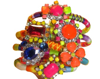 The ORIGINAL ss2012 Vintage Rhinestone Friendship Bracelet - Neon BOHO LUST (Pre Order) As seen on the BagHag Diaries