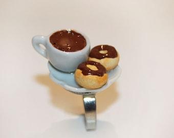 Doughnut Ring - Donut Ring - Coffee Ring - Pastry Jewelry - Kawaii Ring
