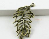 30Pcs Antique Brass Feather Charm Feather Pendant 37x19mm (PND439)