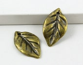 20Pcs Antique Brass tree leaf Charm tree leaf Pendant 23X13mm (PND494)