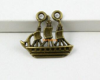 20Pcs Antique Brass Sailing Ship Charm Sailing Pendant 25x22mm (PND609)