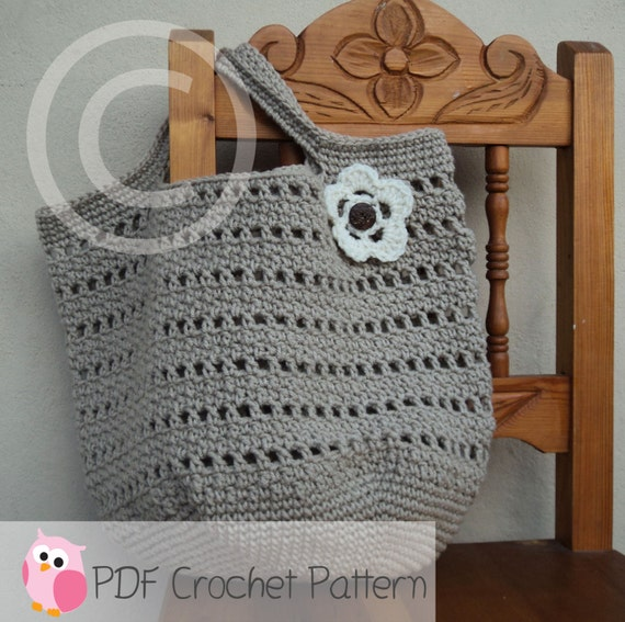Crochet Patterns For Beach Bag : Market Bag Beach Bag Crochet Pattern Digital by ...
