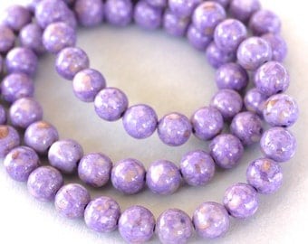 """8"""" Strand - 4mm Light PURPLE Natural RIVERSTONE Round Bead - Opaque Natural River Stone Gemstone Bead - Instant Ship from USA Seller - 4462"""
