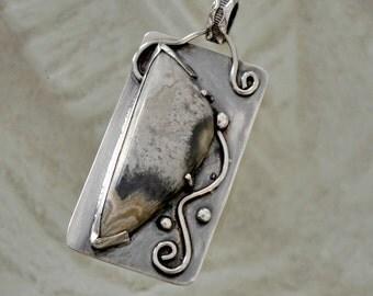 """Sterling silver bezel set jasper pendant. """"dusk"""""""