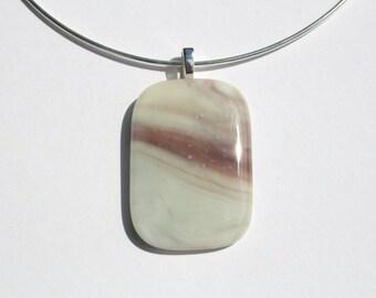 Vanilla & Purple Glass Pendant on Silver Plated Choker