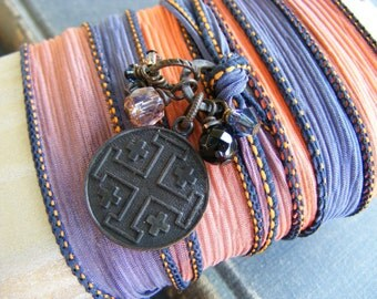 Among the Embers Silk Ribbon Wrap Bracelet:  Dark Brass Medallion Charm with Obsidian and Sparkling Crystals