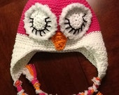 Sleepy Owl hat. Bright pink, white and orange.  Available in all sizes