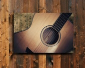 "Guitar Song - 20x30"" canvas print - Guitar photography - Brown Guitar - Guitar - Guitar art - Brown music decor - Music decor - Guitar decor"