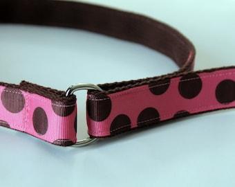 Girls Velcro Belt Pink and Brown Belt Girls Pink Polka Dots Belt Preschool Belt Little Girls Velcro Belt Pink Hook and Loop Belt Brown Belt