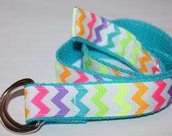 Girls Neon Belt Rainbow Chevron Belt Girls Chevron Belt Neon Rainbow D Ring Belt Girls Turquoise Belt Ribbon Belt for Girls Rainbow D Ring