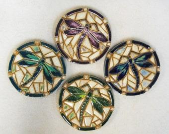 Mosaic Tile Coasters DRAGONFLY Handmade Ceramic Tile Coasters Stoneware Dragon Fly Art - felt backed - Set of 4