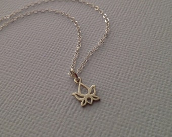 Lotus Necklace in Sterling Silver -Silver Lotus Necklace -Yoga Necklace -Tiny Silver Lotus Necklace