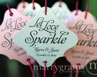 Sparkler Tags - Let Love Sparkle - Wedding Favor Tags Script Custom with Names and Date - Fancy Flourish Tags for Sparklers (Set of 150)