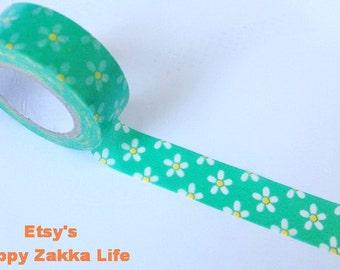 Japanese Washi Masking Tape - Little White Flower with Green - 8.7 yards