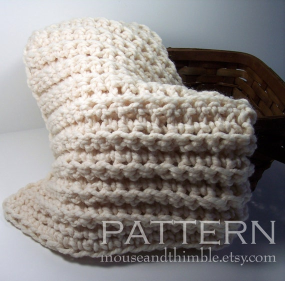 Crochet Patterns Chunky Yarn : Baby Blanket Chunky Fisherman Style Crochet PATTERN 25 quot x 21 quot ...