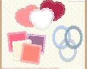 Digital Scrapbooking Frames and Embellishments - VALENTINE'S DAY VOL.2 - Frames & Doilies - Scrapbook Clip Art - Instant Download