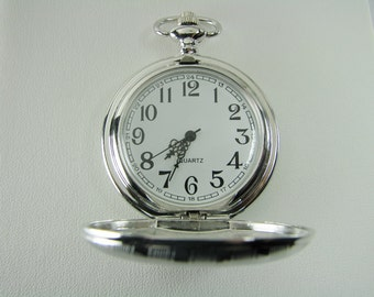 Pocket Watch Custom Engraved Personalized Quartz Watch with Vertical Stripes and Oval Crest - Hand Engraved