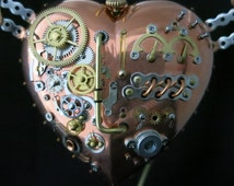 Steampunk Sculpture Art Flying Mechanical Heart Wings Industrial Ornament Vintage Gears Watch and Clock parts Assemblage
