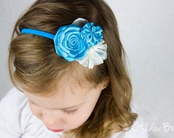 Turquoise Flower Girl Headband - Three Turquoise and Ivory Flowers Bouquet Handmade Headband