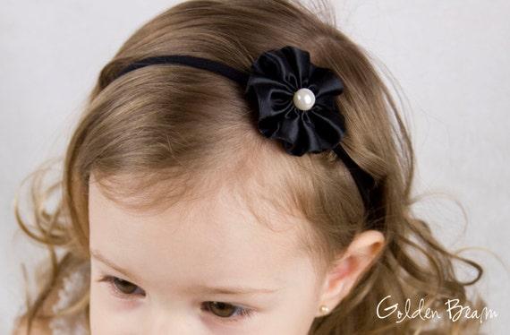 Black Flower Headband - Big Pearl and Black Satin flower Handmade Baby Headband - Newborn to Adult Headband