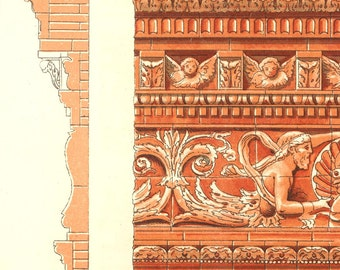 Vintage Ornaments Print Terracota Cornices  Italy 1900 Architecture
