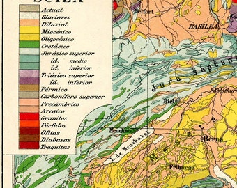 Vintage Geology Map  Switzerland 1920s Wall Hanging Home Decor