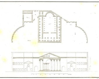 1842 Large Vintage Print Temple of Mars, Rome,  Floor Plan and Elevation, Palladio, Classical Architecture, Plate 238