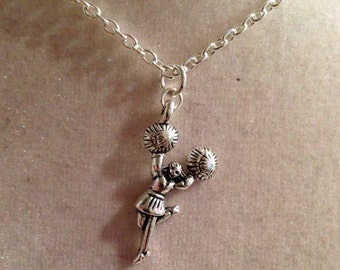 Cheerleader Necklace - Children's Necklace - Cheer - Silver Jewelry Pendant Jewellery Girls Chain Charm