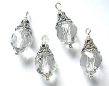 4 Pc. Crystal Clear Vintage Glass Bead Charms - Antiqued Silver Embellishments
