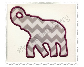 Applique Elephant Silhouette Machine Embroidery Design - 5 Sizes