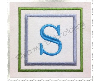 Double Square Monogram Machine Embroidery Font Alphabet - 4 Sizes