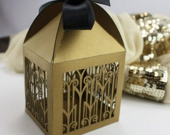 "Laser cut favor box - ""Art Deco"""