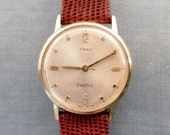 Vintage 1960's Special 7 Jewel Timex Backset, Great Britain Electric Watch. Gold Dial, Kreisler Lizard Band. New Battery, Runs Great.