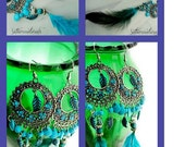 Sale Long  Chandelier Featherearrings/ Gypsy/Teal, blue feather(Ready to Ship)